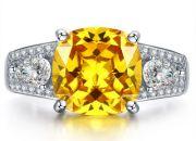 Simulated Yellow Citrine Ring