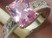 Princess Cut Simulated Pink Diamond Ring