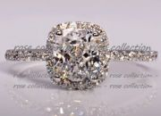 Spectacular 2 Carat Simulated Cushion Cut Diamond Ring
