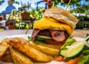 Bacon & Cheese Burger, Hawaiian Burger, McPherson's Deluxe Burger, Pepper Burger & More to choose from for up to 4 People at McPherson's Restaurant on the Vlei!