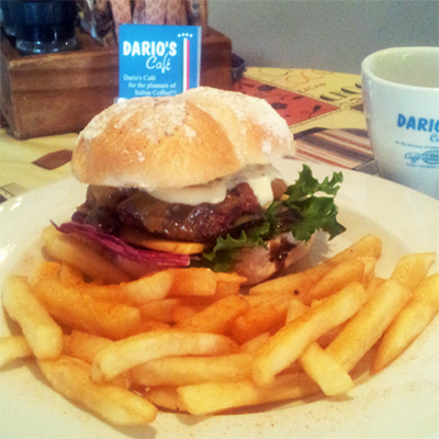 Grab yourself two cheeseburgers and chips from Dario's Cafe in Hout Bay for only R50!