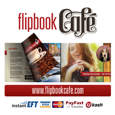 Pay R59.40 for a 1 month subscription to the eco-friendly Flipbook Cafe pdf-to-flipbook conversion software, or opt for a 6 month subscription @ R247.50 and save 50%!
