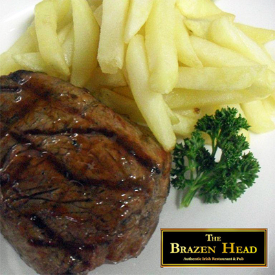 Enjoy a hearty traditional Irish pub meal, choose between a half grilled chicken, 200g rump steak, or seasonal linefish all served with chips only R89 for 2 at The Brazen Head!