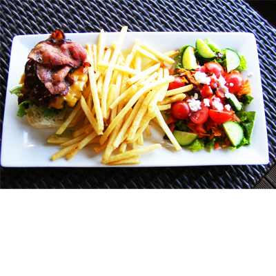 Great offer of two topless burgers with fries and a side salad at the famous Eagle Vlei restaurant for only R75.00!
