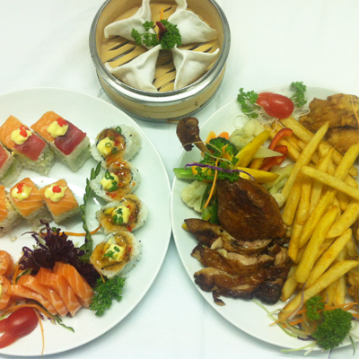 Pay R166 for a combo kitchen platter and sushi platter plus dim su and 2 cups of coffee at Leaf Restaurant - save 65%!