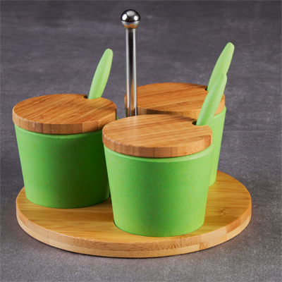Eco-friendly and stylish Bamboo Fibre Condiment Set for only R234!