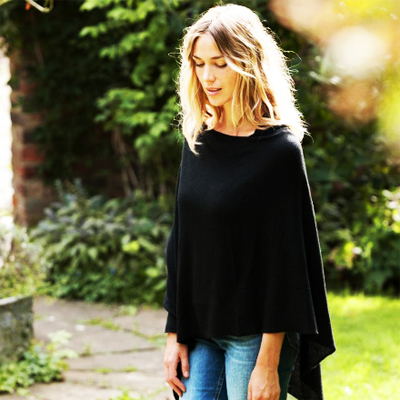 Luxurious ladies 100% black cashmere poncho for R640. Delivered to you!