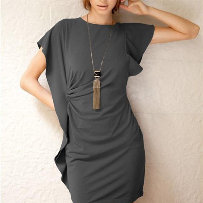 Chic Form Fitting Dress with Side Frill Available in 6 Colours | R240