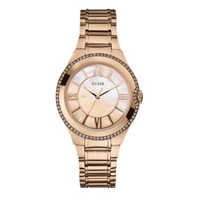 Guess Ladies Gold Round Crystal Mother of Pearl Dial Watch | R1339