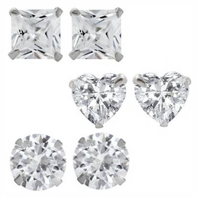 Cubic Zirconia and Solid 925 Sterling Silver Studs   R200