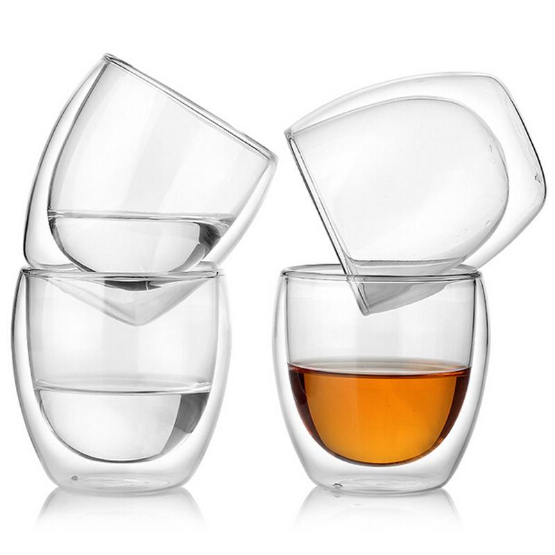 Vita Set of 4 200ml Double Wall Glass Mug Set