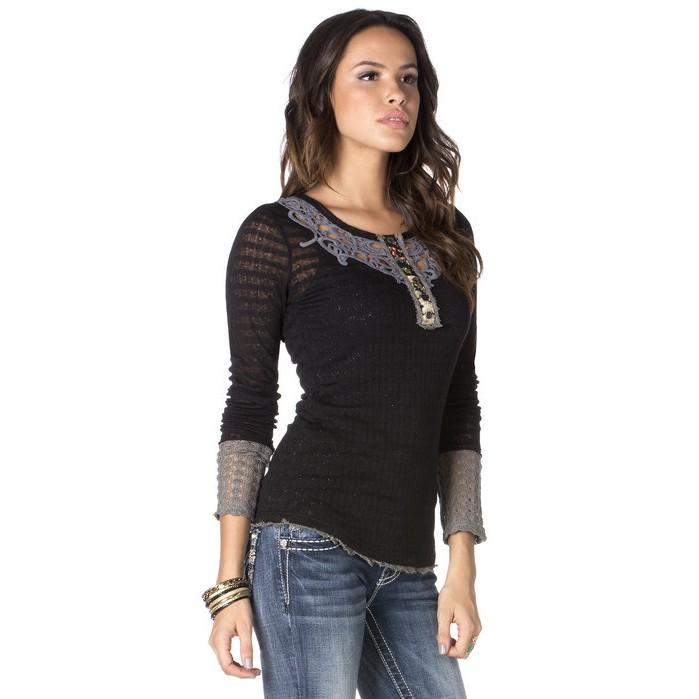 Miss Me Crochet Henley Styled Long Sleeve Top