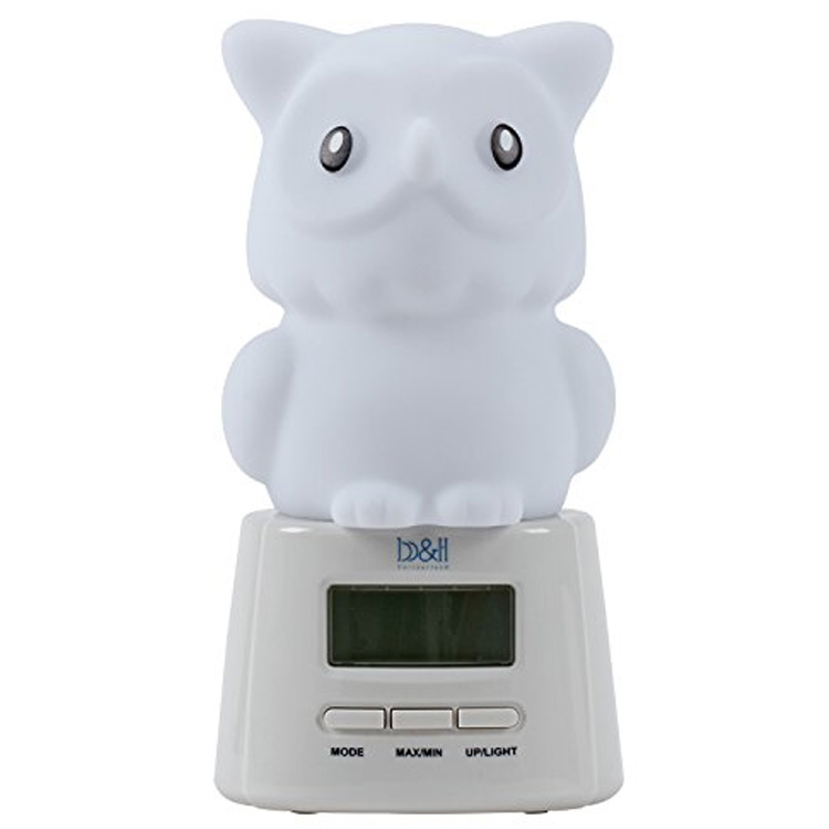 Nigcom Bear or Barn Owl Colour Changing Baby Night Light with Thermometer