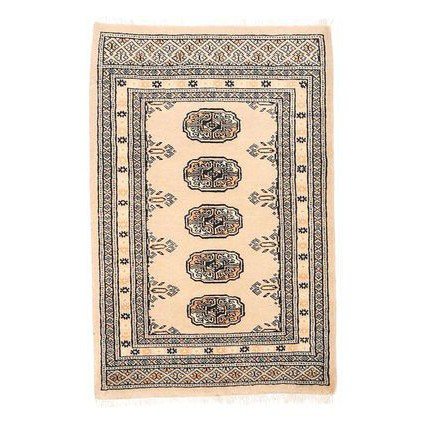 Prime Persian Authentic Karachi Bokhara Carpet in Beige (More Sizes Available)