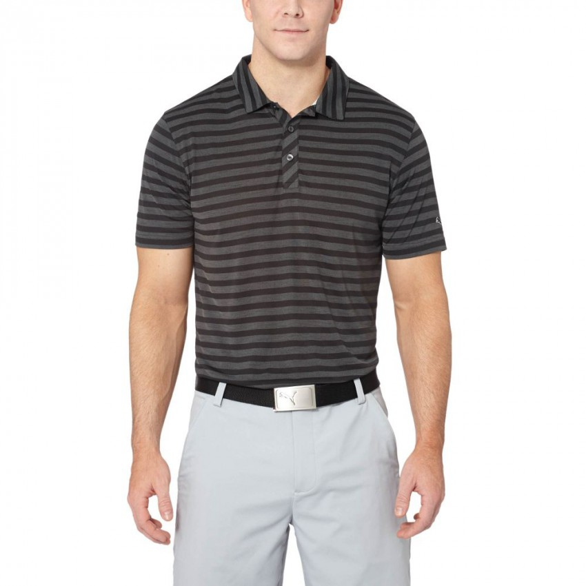 PUMA Golf Mens Essential Mixed Stripe Golf Polo