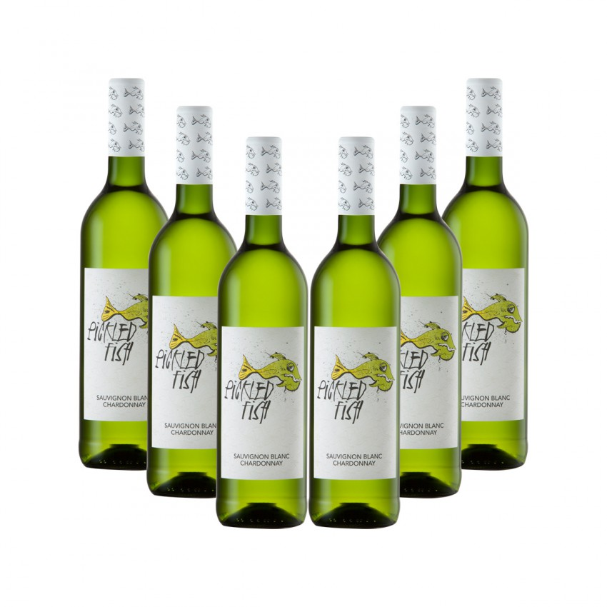 Asara Wines Case of Pickled Fish Sauvignon Blanc/Chardonnay, Unwooded Chardonnay, Sauvignon Blanc or Chenin Blanc 2016 (R42 per Bottle, 6 Bottles)