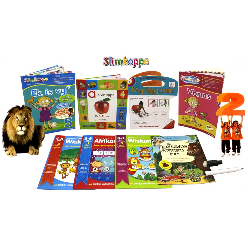 Slimkoppe Afrikaans Children's Educational Book Bundle with Julia Donaldson Sticker Activity Book (8 Books)