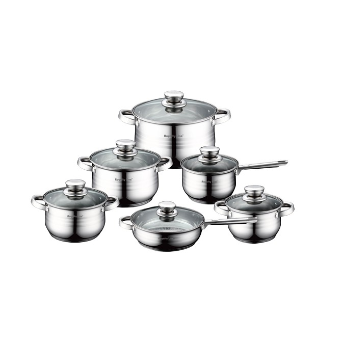 Royalty Line 12-Piece Stainless Steel Cookware Set with Glass Lids