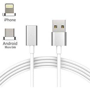 Magnetic 2-in-1 Metal Charge & Sync Cable for iOS and Android Devices
