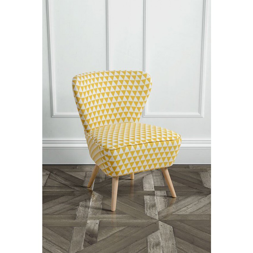 Lagom Delilah Yellow Check Occasional Chair with Natural Oak Legs