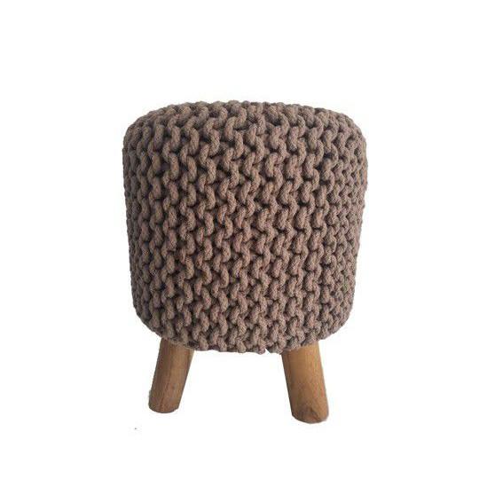 Jeanne Austin 100% Cotton Yarn Desert Stone Ottoman with Wooden Acacia Legs