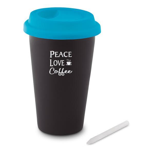 Black-Ink Chalkboard Ceramic Travel Mugs