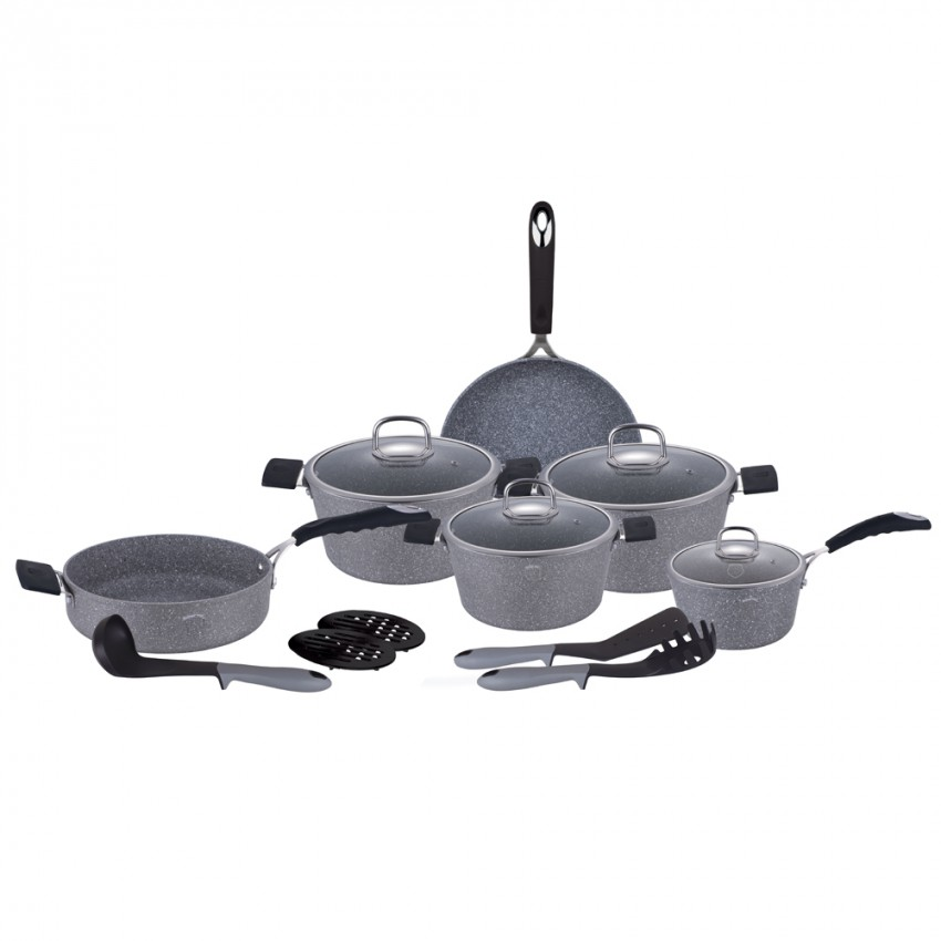 Berlinger Haus 15-Piece Stone Touch Line Marble-Coated Oven Safe Cookware Set