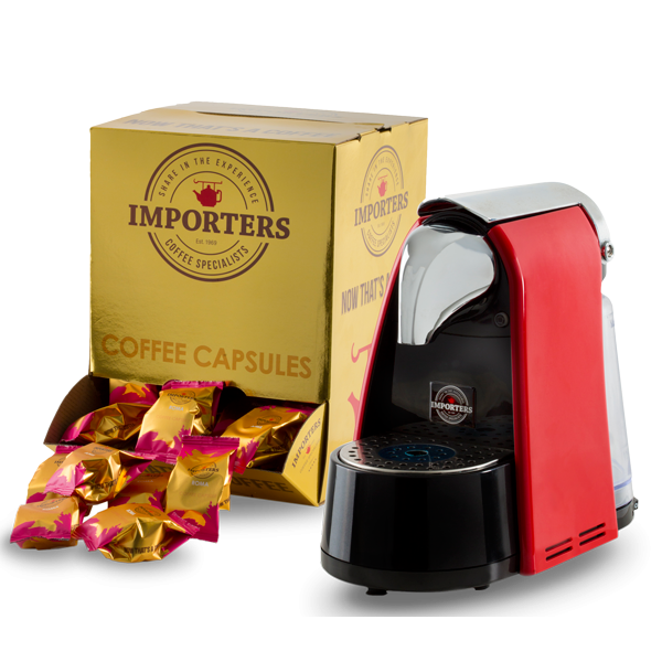 Importers Coffee Specialists Capsule Coffee Machine + 100 Pods (Nespresso Compatible)