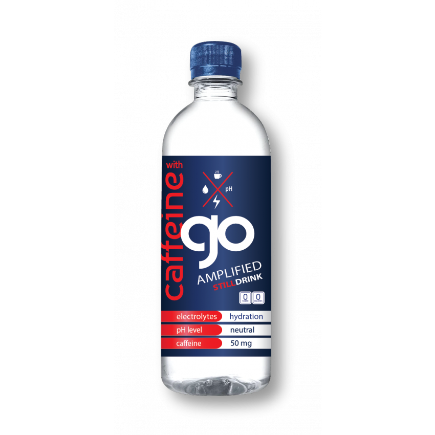 go Amplified Still Caffeinated Drinking Water (12 Pack) with Fruit Infusing Water Bottle