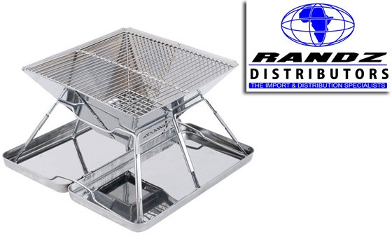 It's barbecue time with Randz Distributors: stainless steel foldable braai stand for only R299 plus bonus voucher towards a gazebo. Delivery included. (value R650)