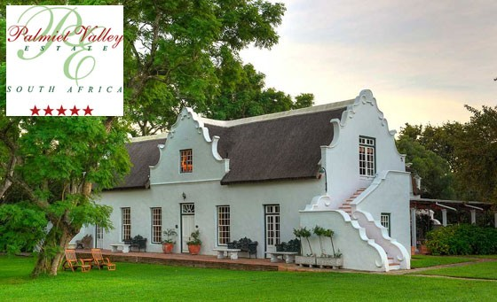 Spend time in the breathtaking Cape Winelands at the 5-star Palmiet Valley Wine Estate: Incl bed and full English breakfast for 2 and bottle of wine plus bonus – just R899 (value R2440)