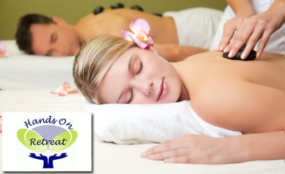 Deliciously luxurious treatment for 2 at the four-star Hands on Retreat. Only R299 for a Full Body Hot Stone massage for 2, followed by afternoon cake and tea plus bonus (value R1090 - save 73%)