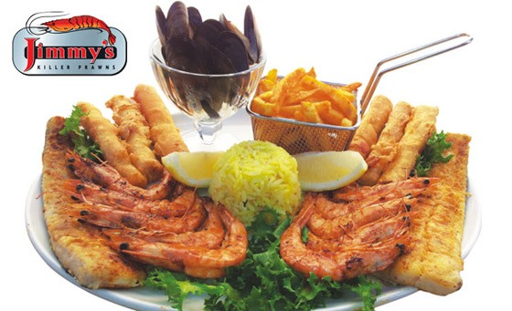 Pay R175 and savour X2 seafood soup PLUS a seafood platter for 2 AND 2 glasses of house wine only at Jimmy's Killer Prawns, Bedfordview (value R350)