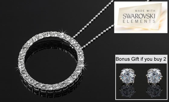 Breathtaking 925 sterling silver Eternity Pendant with 27 sparkling Genuine Swarovski Crystals + necklace only R299. Hot Special: Buy 2 and get a FREE pair of Swarovski Earrings