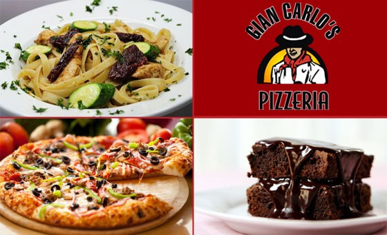 Italian-style dining at Gian Carlos Pizzeria: Get ANY 2 medium-sized pizzas or pastas for 2 people AND 2 brownie desserts plus bonus (value R120)