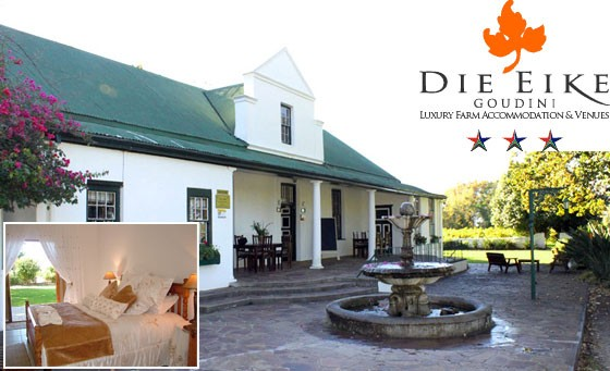 The Winelands is calling! Surround yourself with beauty at Die Eike Luxury Farm Accommodation and Venues: a 2 night stay for 2 incl bottle of award-winning wine – just R599 (value R1280)