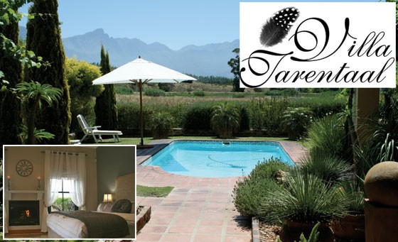 Enjoy privacy and hospitality of the highest standard at Villa Tarentaal in Tulbagh: for just R599 enjoy a getaway for 2 incl breakfast and bottle of wine plus fab bonuses (value R1330)