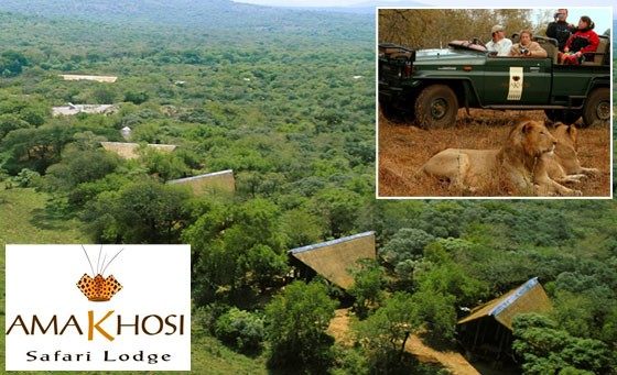 Big 5 adventure at the 5-star Amakhosi Safari Lodge: for only R3499 enjoy a getaway for 2 people incl all meals with local beverages PLUS 2 game drives with snacks and refreshments (value R7200)