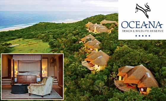 Retreat to a utopia of breathtaking beauty at the 5-star Oceana Beach & Wildlife Reserve: luxury getaway for 2 people incl. all meals and a game drive. Enjoy a beach walk for 2 + bonus vouchers. Only R3599 (value R8100)