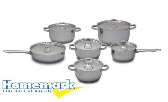 Cook up a storm with an exquisite 12 piece, Stainless Steel Pot set from Homemark for only R799 (value R1999) Delivery included