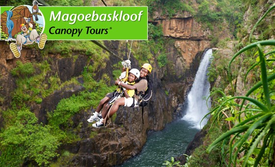 Experience an exhilarating Magoebaskloof Canopy Tour for 2 people including refreshments and a light meal plus X2 R100 bonus vouchers so two friends can join your cable sliding adventure for only R499 (value R1100)