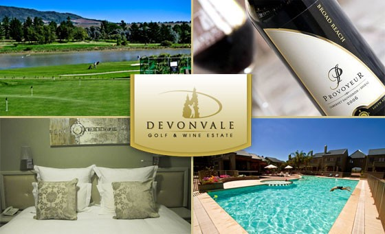 Leisure and indulgence is the name of the game: A fantastic getaway for 2 ppl at Devonvale Golf & Wine Estate incl. an exquisite wine-tasting experience, a bottle of wine in your room + incredible bonuses, only R499 (1305)