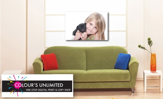 Showcase your favourite family picture, cartoon character, pet or superhero: Receive 55% discount on an unlimited range of A4 to A0 canvasses from Colour's Unlimited for only R49 (up to the value of R782)