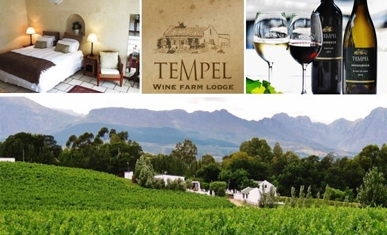 Immerse yourself in rural tranquillity & tasteful comfort! Tempel Wine Estate, situated on a working wine farm in Northern Paarl, invites you & a partner to enjoy a 1-night stay incl bfast, a cellar tour and MORE, only R499! Roughly 1 hr from CT