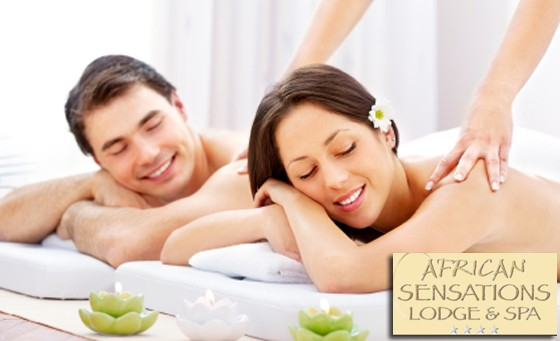 Soar to new levels of relaxation! Only R399 for a Spa Package for two including a welcome drink, fruit platter, African Head, Neck and Shoulder Massage, Hot Stone Back Massage, Hot Stone Foot Massage and more at African Sensations Lodge