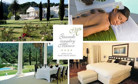 Indulgent & Luxurious 4 STAR escape to Majestic Cascade Country Manor in Paarl just 60kms from Cape Town. Perfect for any celebration or simply a beautiful night away. Only R999 inc full body massage each, bfast + more (Save 70%). Buy up to 4 nights