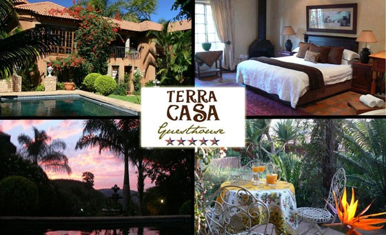 Experience 5-STAR pleasure in the heart of Rustenburg when you escape with your partner for one night to the charming Terra Casa Guesthouse, only R799! INCL A Full English Breakfast with welcome drinks on arrival