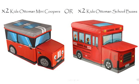 Fantastic storage space for your kids toys, books, clothes & more! Only R349 for a set of x2 Kids Ottoman Mini Coopers OR x2 Kids Ottoman School Buses INCL FREE NATIONAL DELIVERY! Instant pop-up design, sturdy & foldable construction! Valued at over R550
