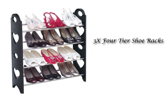 Keep your shoes looking fresh with this convenient shoe storage solution! Only R399 for THREE of these high quality 4 Tier Shoe Storage Racks INCL FREE NATIONAL DELIVERY! Each shoe rack holds up to 12 pairs of shoes!