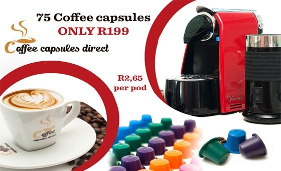 Do you love coffee? Enjoy 75 premium coffee capsules for ONLY R199 plus FREE DELIVERY NATIONWIDE. (Capsules compatible with ALL Nespresso® and Caffeluxe® machines)